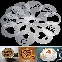 16 pcs Art Coffee Print Mold Barista Stencils Template Strew Creative Pad Duster Spray Latte Art Coffee Shop Tools