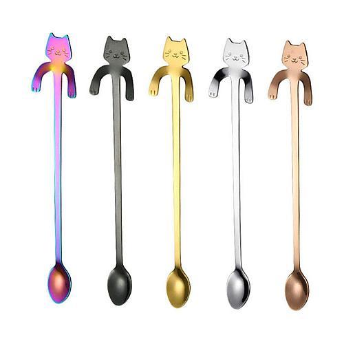 Cartoon Cat Handle Stainless Steel Coffee Tea Hanging Spoon Kitchen Supplies