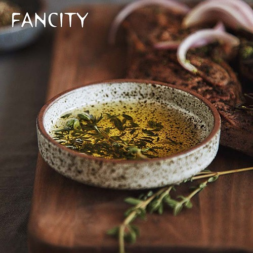 FANCITY Retro style creative ceramic tableware household restaurant pottery dish rice bowl sauce dish dessert dish