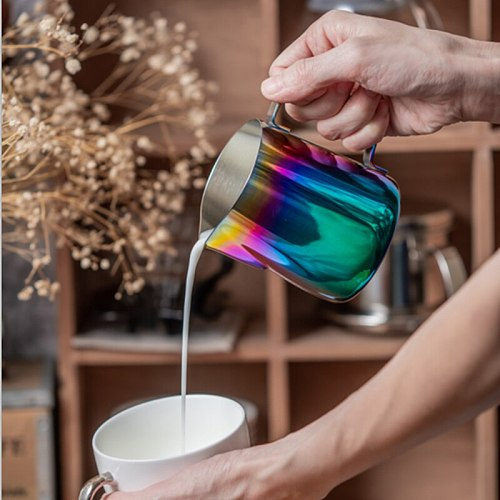 Newly Japanese Style Stainless Steel Garland Cup Garland Milk Jug Best Milk Frother Steamer Cup Easy to Read Creamer TE8