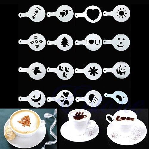 16 Coffee Machine Barista Stencils Template Strew Flowers Pad Duster Spray Print T84E