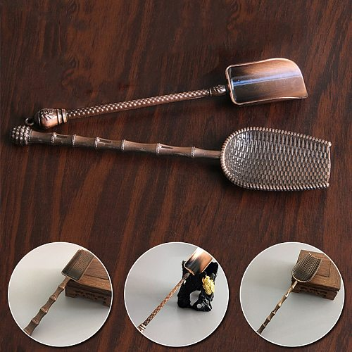Tea Accessories Retro Chinese Style Shovel Shape Tea Spoons Kongfu Tea Tools Copper Sugar Salt Coffee Spoon Kitchen Gadgets