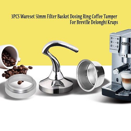 Breville Delonghi Filter Krups 51MM Filter Basket 2-Cup Coffee Tamper Dosing Ring Set Breville Coffeeware Birthday Gift 3PCS/set