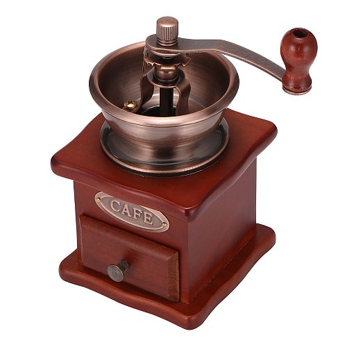 Wood Coffee Bean Grinder Wooden Manual Coffee Grinder Hand Stainless Steel Retro Coffee Spice Burr Mill With Ceramic Millston