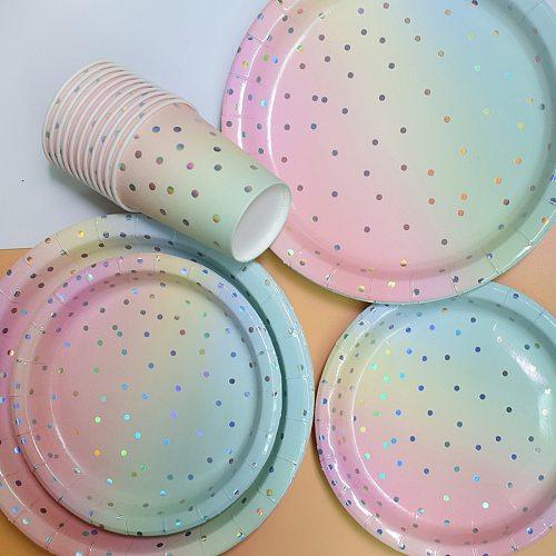 8Pc Iridescent Foil GoldDot Rainbow Princess Party Supplies Decor Cake Dish Disposable Paper Plates Unicorn Mermaid Bride Favors