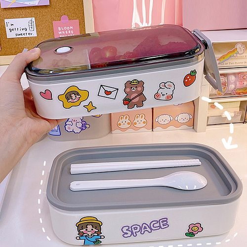 W&G Japanese Kawaii Lunch Box Container Acciaio Double Layer Lunch Box Container With Cover Compartments Storage Breakfast Boxes
