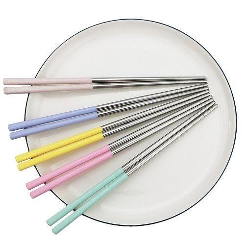 1Pair Reusable Chopsticks 23cm 18/10 Stainless Steel Chopsticks Tableware Non-slip Head Chopsticks Dinnerware Food Chopsticks