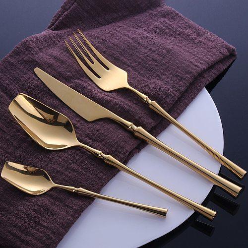 4Pcs/set Gold Dinner Set 18/10 Stainless Steel Cutlery Silverware Flatware Sets Knife Fork Spoon Kitchen Utensils Dropshipping