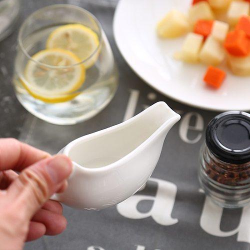 Guci Black Pepper  Juice Cup Sauce Dou Pure White Ceramic Pepper Sauce Pot Seasoning Vessel  Western Steak Sauce Dou Boat