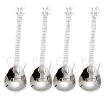 Guitar Coffee Teaspoons,4 Pcs Stainless Steel Musical Coffee Spoons Teaspoons Mixing Spoons Sugar Spoon(Silver)