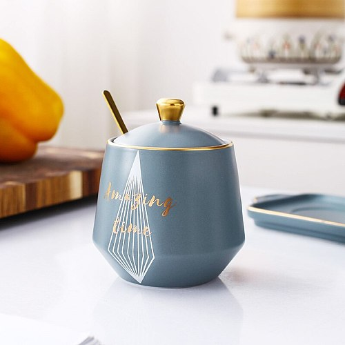 Ceramic seasoning pot, spoon and lid integrated set, high seasoning storage box, household kitchen moisture-proof sealed pot