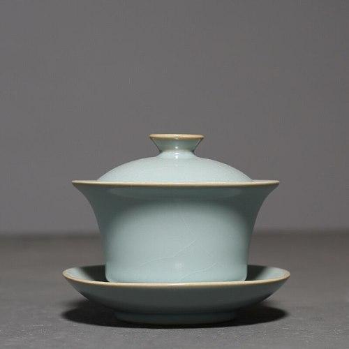 Retro Ru Kiln Travel Azure Teapot Ceramic Cover Bowl Tea Tureen Teacup Hand Grasp Gaiwan Tea Bowl Tes set Tea Cup Drinkware Home