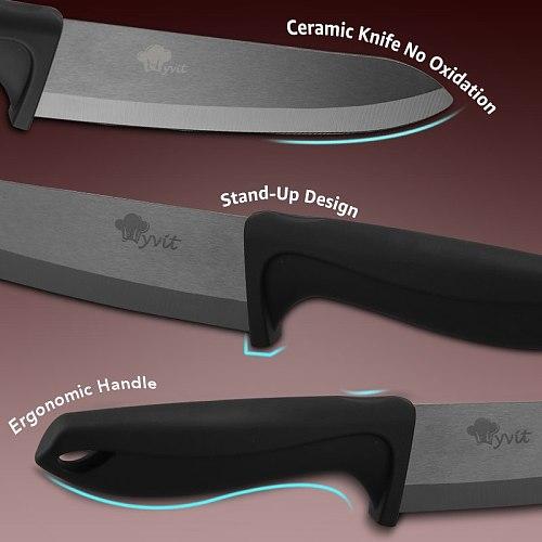 Kitchen Knives Ceramic Knives with holder 6pcs set  3  paring 4  5 slicing 6 chef knife Zirconia Ceramic Black Blade