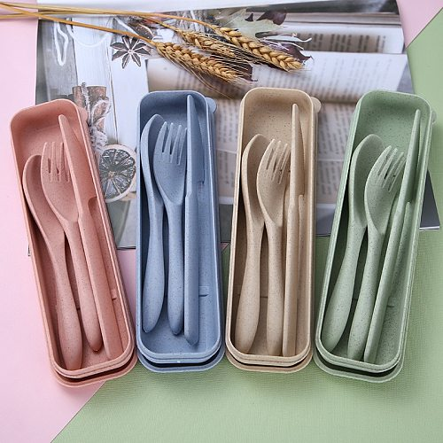 Wheat straw portable cutlery set plastic cutlery 3-piece set for traveling wheat cutlery environmentally friendly lightweight