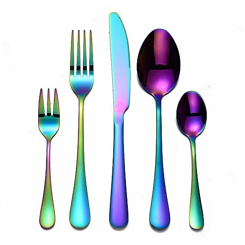Rainbow Tableware Cutlery Set Fork Spoon Cutlery Color Stainless Steel Dinnerware Set Colorful Hotel Party Kitchen Dinner Set