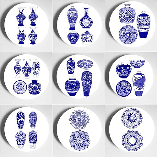 Traditional Blue And White Porcelain Wall Plate Classical Flower And Bird Pattern Decorative Plate Decorative Pattern Art Plate