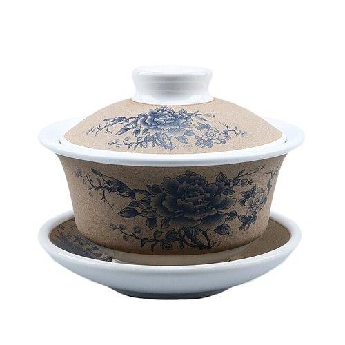 Gaiwan Ceramic 120ml Tea Tureen Vintage Tea Bowls Saucer Lid Teaware Set Drinkware Pottery Kettle Pu'er Master Cup Creative Gift