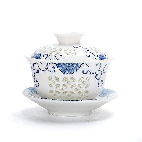 Purple sand lotus ruyao Ruyi tea saint ice crack sunny exquisite ceramic Chinese kungfu tea set cup cover covered bowl tureen