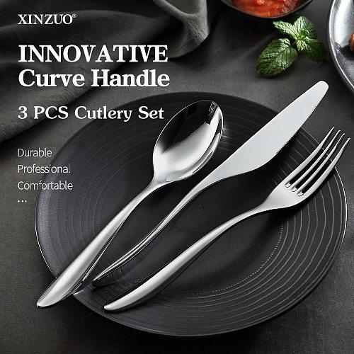 XINZUO 3PCS Cutlery Set Portable Knife Fork Spoon Stainless Steel  Dinnerware Set Kitchen Silverware Flatware Tableware Set