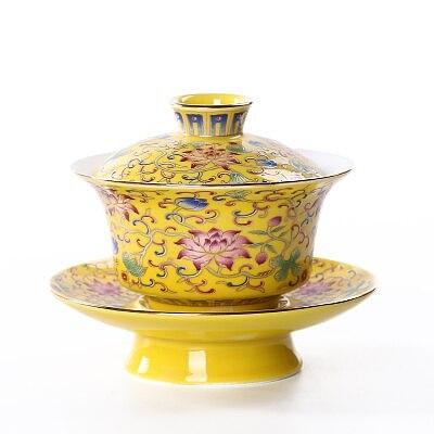 Jingdezhen Ceramic Tea Tureen Enamel Cover Bowl Chinese Large KungFu Gaiwan Tea Cup Bowl Teaware Tea Ceremony Accessories