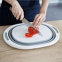 Anti-slip Multifunctional Foldable Wash Basin Chopping Tray Kitchen Products Cutting Board Basket Round Plastic