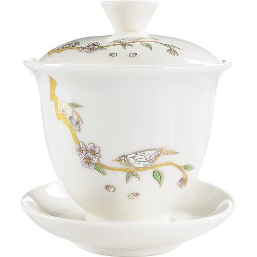Pastrol Blue Bird Gaiwan Ceramics Handmade Painting Little Bird Ceramic Pattern  Tea Tureen Teaware Accessories Tea Bowl