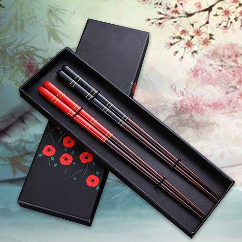 Hot New 2 Pairs Japanese Korean Reusable Chopsticks Natural Beech Wood Chopsticks Chinese Set Handmade Gift Pack