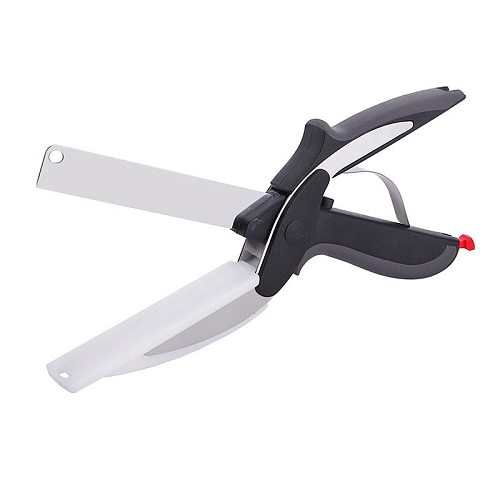 2-in-1 Utility Knife Stainless Steel Smart Vegetable Food Supplement Fruit Scissors Kitchen Knife Food Cutting Board