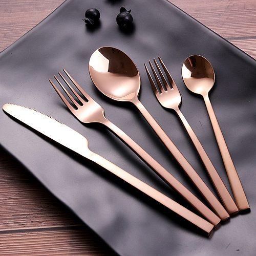 30pcs Gold Cutlery Sets Matt Stainless Steel Tableware Set Knife Fork Coffee Spoon Flatware Set Dishwasher Safe Dinnerware Set