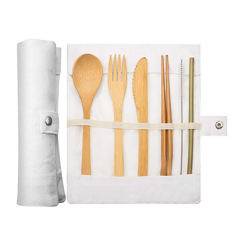 HOT Portable Eco Friendly Flatware Set Bamboo Travel Utensils Sustainable Biodegradable Cutlery Set For Kitchen Food Setreusable