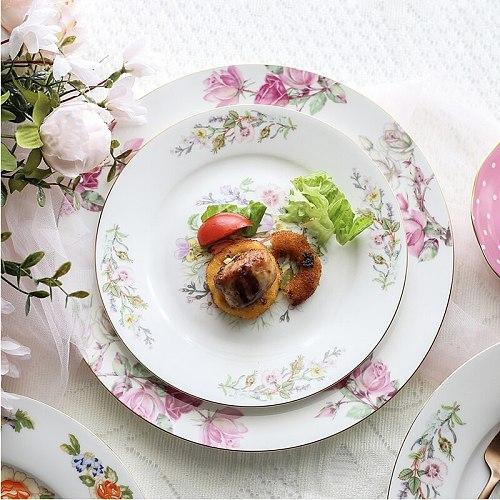 Bone Porcelain Western Food Plate SetLdyllic Style Steak Flat Plate Tableware Ceramic Disk Home Hotel Model Room Decoration