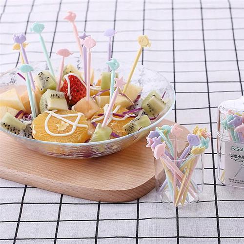20pcs Cute Fruit Fork Food Picks Bento Dessert Decoration Accessories Fruit Party Picks Supplies (Random Color and Pattern)