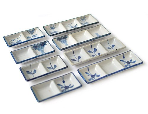 1 PC Japanese-style Hand-painted Ceramic Small Sauce Dish Flavored Dip Mustard Chili Sauce Caster Two/Three Square