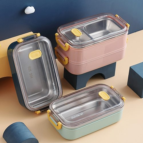 304 Stainless Steel Thermal Lunch Box Office Worker Bento Box Single/Double Layer Student Children Food Storage Container Store