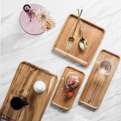 Solid Wood Squre Dinner plates Snack Fruit Dry Fruit Plate High-Quality Handmade Sushi Tea Tray Dessert Dinner Plate Tableware