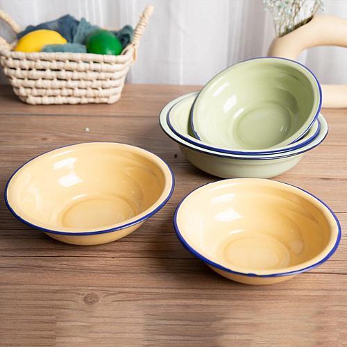 Bowl Durable Vintage Enamel Multifunctional Soup Plate for Kitchen  Soup Plate Bowl