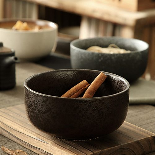 Japanese Style Ceramic Instant Noodle Bowl Creative Large Restaurant Retro Ramen Bowl Household Soup Rice Bowl Kitchen Tableware