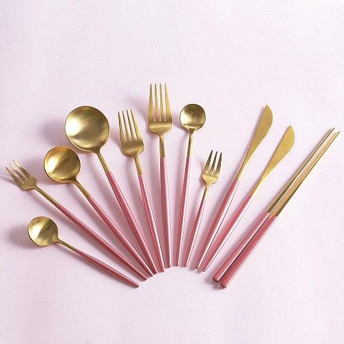 Pink Gold Cutlery Set Stainless Steel Dinnerware Set Silverware Tableware Dinner Spoon Fork Knife Chopsticks Dropshipping