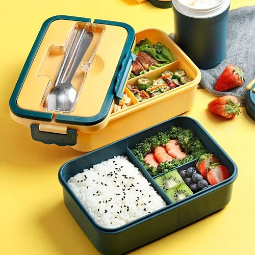 Bento box japanese style for kids Student food container Wheat Straw Material Leak-Proof Square lunch box With Compartment