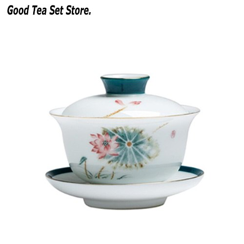 180ML Jingdezhen Gaiwan Blue and White Porcelain Tureen Household Kung Fu Tea Set Ceramic Cup with Lid Cover Saucer Tea Bowl