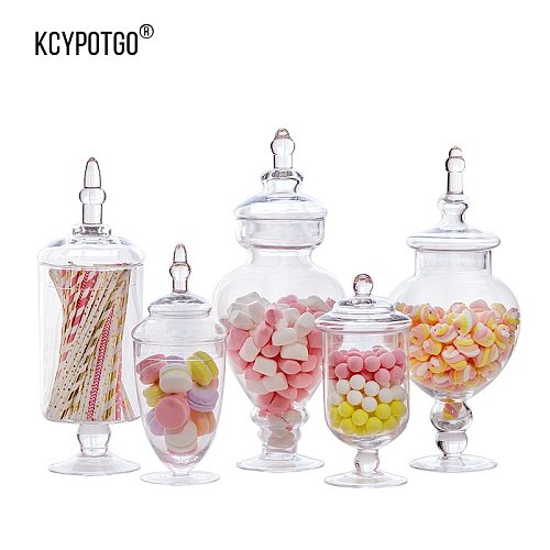 KCYPOTGO European style storage tank/ glass candy jar Suitable for home and wedding decoration furnishing articles ( 5PCS /set )
