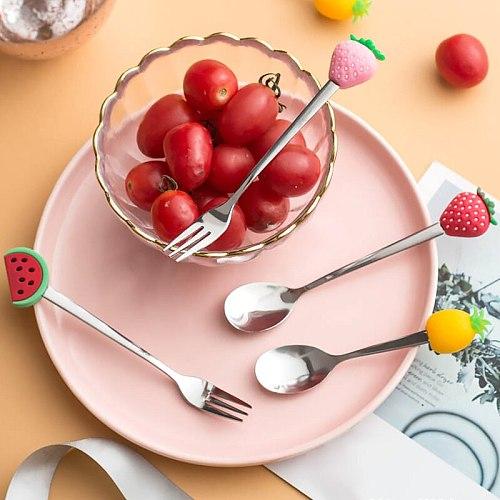 1 Pcs Stainless Steel Cute Fruit Shaped Coffee Spoons Fruit Dessert Spoon Fork Candy Tea Spoon Drink Tableware Kitchen Supplies
