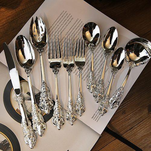 1pcs Retro Silver Dinnerware Set Steak knife Soup Fork Western Style Tableware Cutlery Kitchen Tools Multi Style Xmas Dinner set