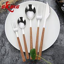 Wooden Handle Western Tableware Set Stainless Steel Cutlery Set Knife Fork Spoon Teaspoon Dinner Set Service Dinnerware 5Pcs/set
