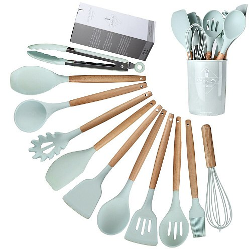 XYj Silicone Cooking Utensil Set Kitchen Utensils 12 Pcs Cooking Utensils Set Non-stick Heat Resistant Silicone Cookware Tools