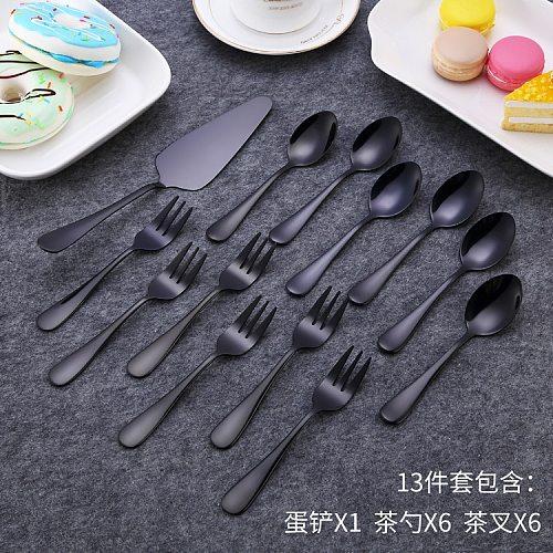 Black Cutlery Set Stainless Steel Dinnerware Set Western Food Fork Steak Scoops Dessert Fork Silverware Home Tableware Set 1pc