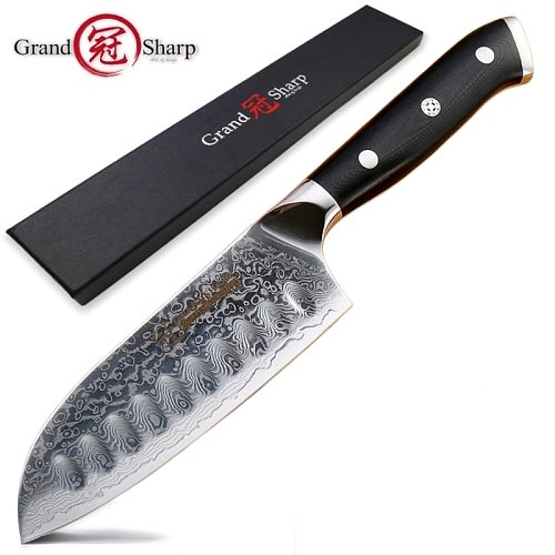 5 Inch Santoku Knife VG10 Japanese Damascus Stainless Steel 67 Layers Japanese Damascus Kitchen Knives Professional Chef's Tools