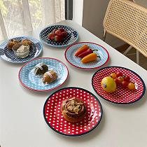 9 inch Imitation Porcelain Plate Dinner Fruit Plate Thickened Snack Plate Dessert Cake Dishes Pastry Tray Tableware Decoration