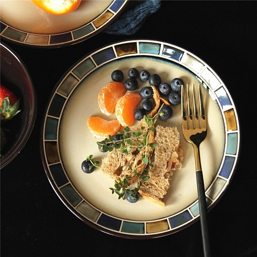 Creative ceramic tableware American hand-painted kiln glaze western food plate snack plate steak plate bowl soup bowl