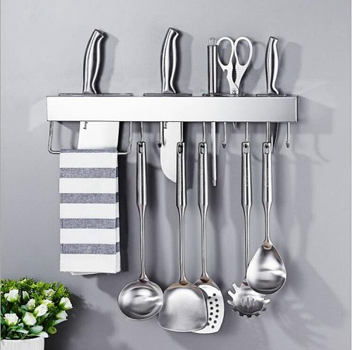 Stainless Steel Knife Holder & Space-Saving Strip for Home Kitchen Knives & Utensils Wall Rack with Removable Hooks